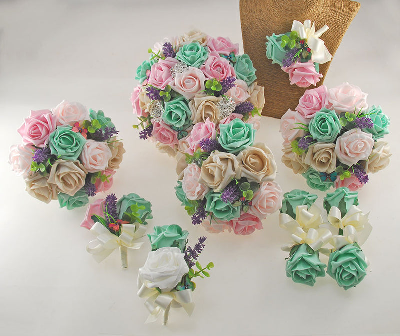 Mint, Pink & Mocha Rose Butterfly, Brooch and Lavender Wedding Flower Package