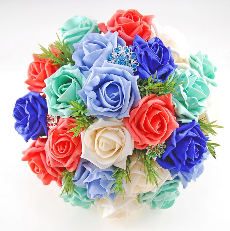 Mixed Colour Foam Rose & Brooch Bridal Wedding Bouquet