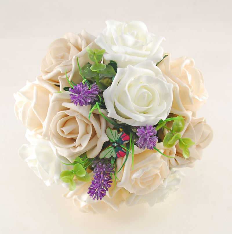 Mocha, Cream & Ivory Rose Butterfly and Lavender Wedding Flower Package with Brides Bouquet, Bridesmaids Posy, Flower Girl Posy, Grooms Buttonhole