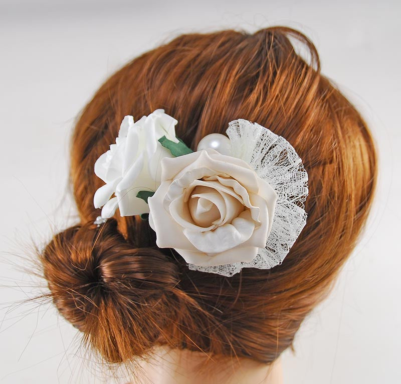 Mocha & Ivory Foam Rose Hair Comb with Lace Bow & Pearls
