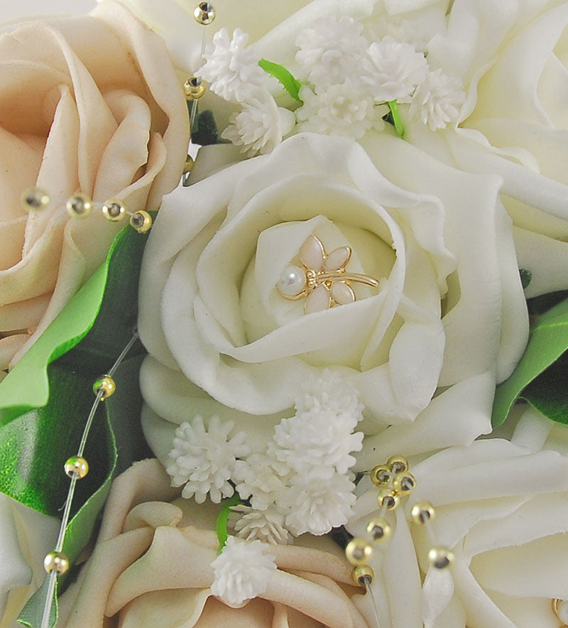 Mocha & Ivory Rose Lucy Wedding Flower Package, With Gold Pearls & Dragonfly Charm