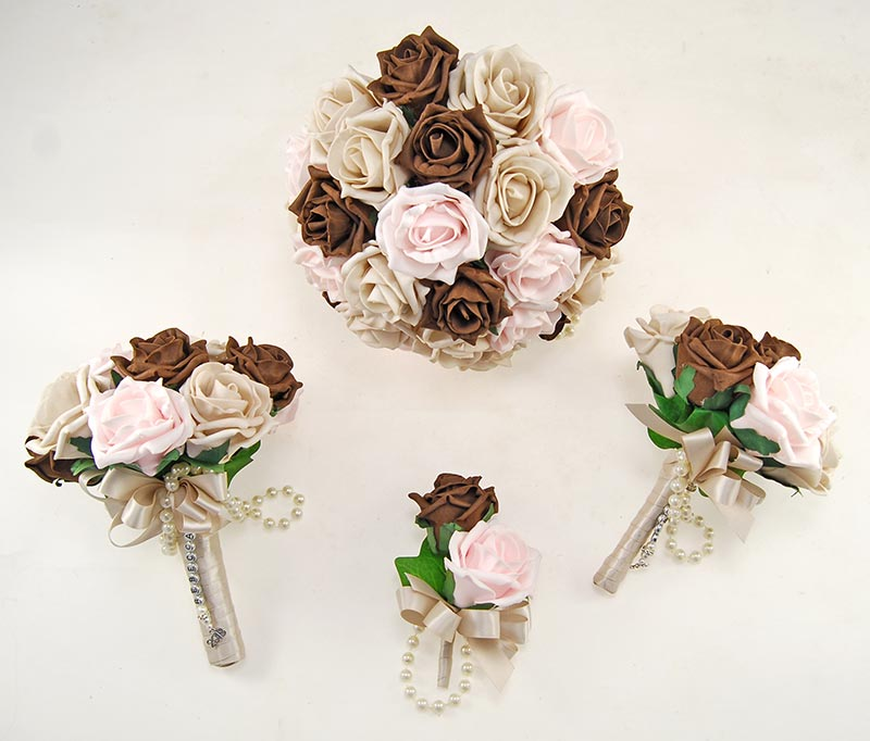 Mocha, Pink, Brown Foam Rose Handle Name Charm Wedding Vanessa Package