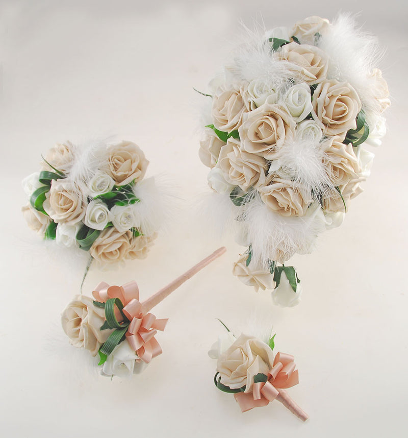 Rebecca Shower Package in Ivory Diamante Roses, Ivory Feathers and Mocha Foam Roses