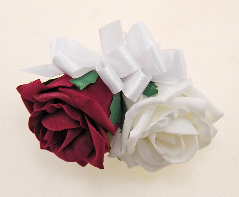 Mothers Burgundy & White Foam Rose Wedding Day Pin Corsage