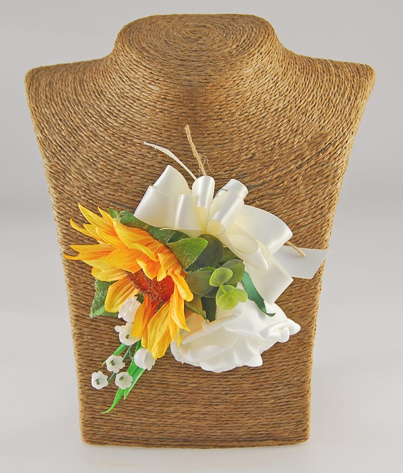 Mothers Pin Corsage Golden Silk Sunflower, Ivory Rose & Lilly of the Valley