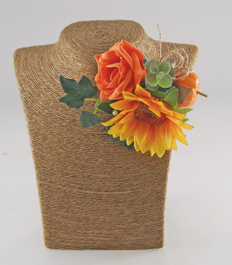 Mothers Yellow Silk Sunflower, Orange Rose & Pumpkin Pin Corsage