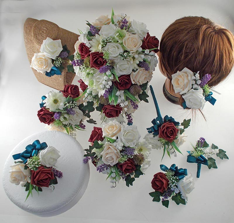 Naomi Burgundy, Cream, Ivory Rose, Lavender & Lily of the Valley Wedding Flower Package