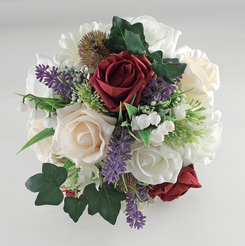 Lily Of The Valley Wedding Flowers: Naomi Burgundy, Cream, Ivory Rose, Lavender & Lily Of The