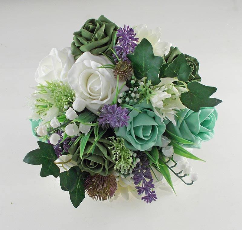 Naomi Green Rose, Lavender & Lily of the Valley Wedding Flower Package