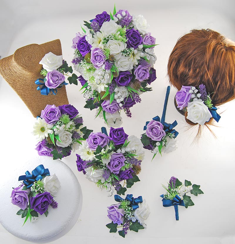 Lily Of The Valley Wedding Flowers: Naomi Purple & Lilac, Ivory Rose, Lavender & Lily Of The