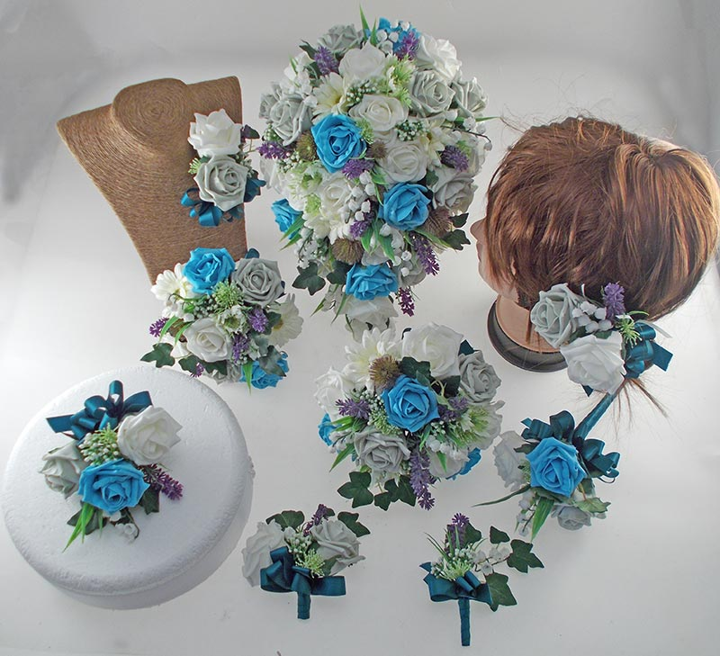 Naomi Turquoise, Grey, Ivory Rose, Lavender & Lily of the Valley Wedding Flower Package
