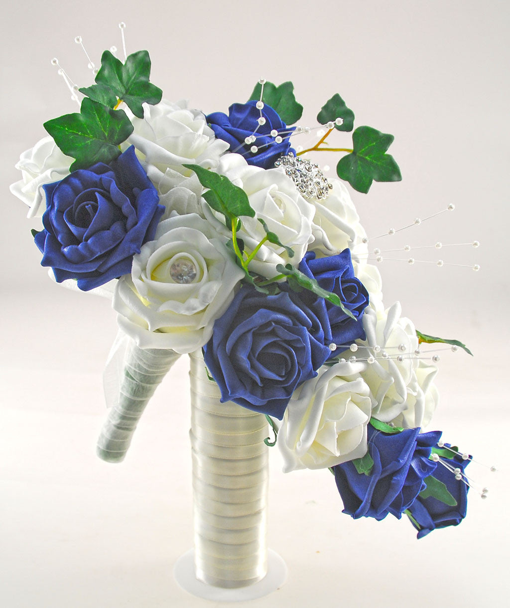 Navy blue ivory rose evie wedding shower package brides shower navy blue ivory rose evie wedding shower package brides shower bridesmaids bouquet flower girl posy wand grooms buttonhole izmirmasajfo