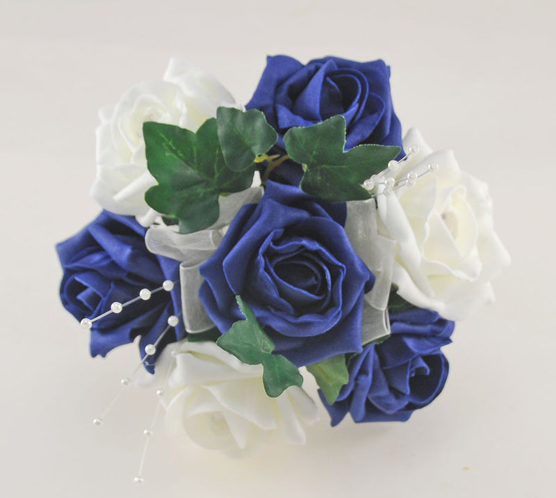 Navy Blue & Ivory Rose Evie Wedding Shower Package, Brides Shower, Bridesmaids Bouquet, Flower Girl Posy, Wand, Grooms Buttonhole