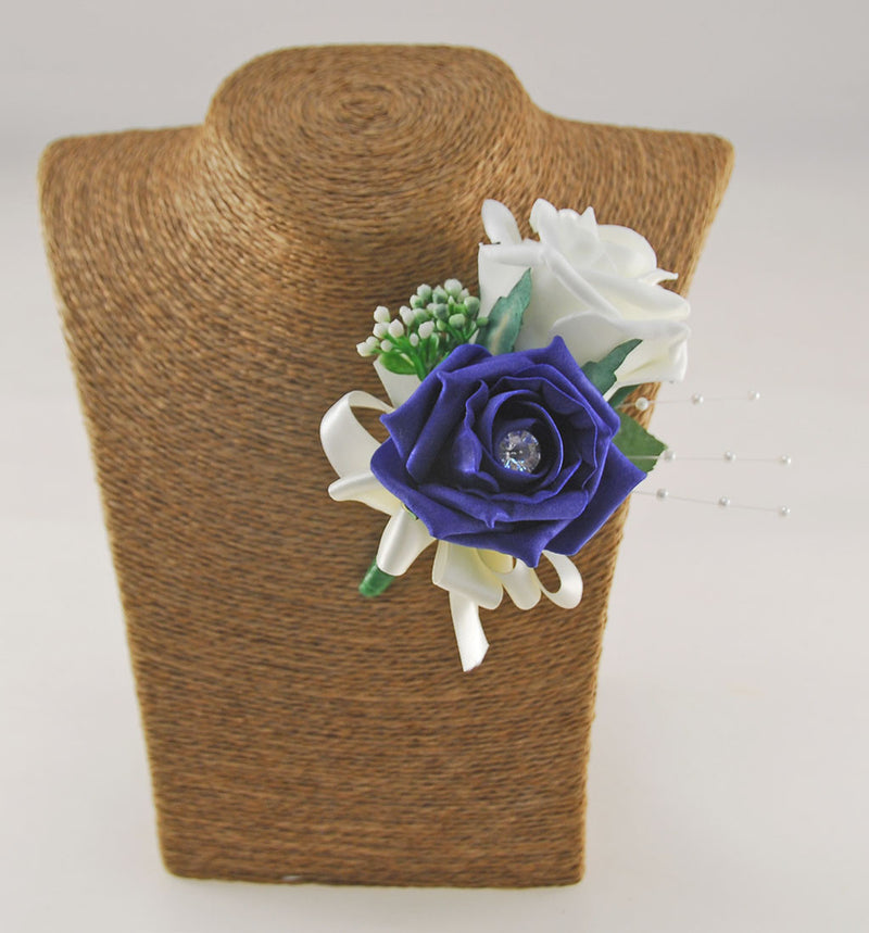 Grooms Navy & Ivory Diamante Rose Buttonhole with Gypsophila & Pearls
