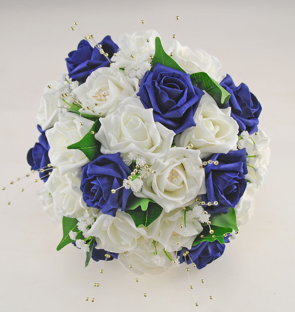 Navy Blue Ivory Rose Lucy Wedding Flower Package With Gold Pearls