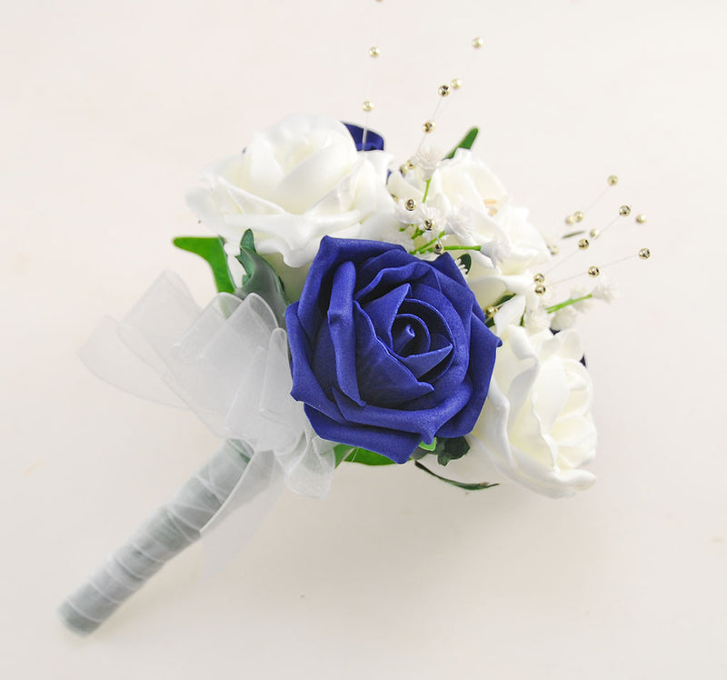 Navy Blue & Ivory Rose Lucy Wedding Flower Package, With Gold Pearls & Dragonfly Charm