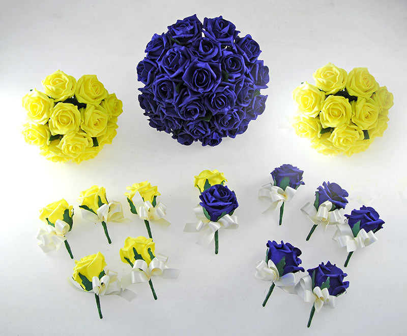 Navy Blue & Yellow Rose Wedding Flower Package with Brides Bouquet, Bridesmaids Posies, Groom & Guest Buttonholes