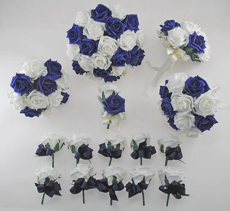 Navy Blue and Ivory Rose Wedding Flower Package with Brides Bouquet, Bridesmaids Posies, Groom & Guest Buttonholes