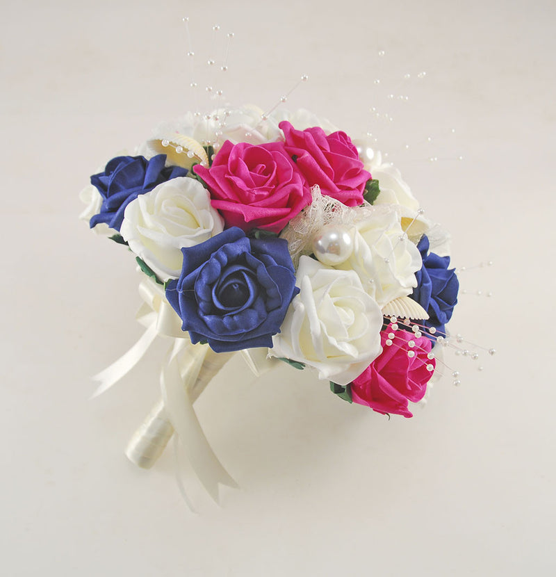 Navy Blue, Cerise Pink and Ivory Foam Rose, Seashell and Pearl Wedding Flower Package with Brides Bouquet, Bridesmaids Posies, Grooms, Mothers, Guest Buttonholes