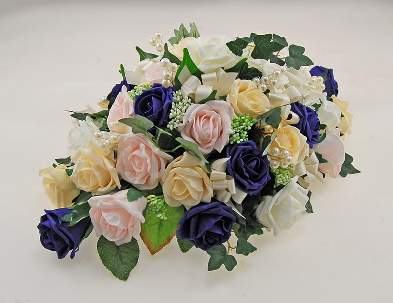 Navy, Cream, Pink, Ivory Rose, Gypsophila & Pearl Wedding Top Table Arrangement