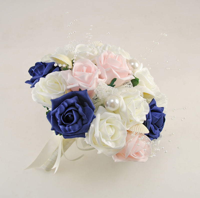 Navy, Pink and Ivory Foam Rose, Seashell and Pearl Wedding Flower Package with Brides Bouquet, Bridesmaids Posies, Grooms, Mothers, Guest Buttonholes