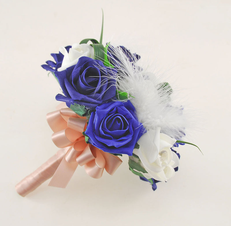 Rebecca Shower Package in Ivory Diamante Roses, Ivory Feathers with Navy and Royal Blue Roses