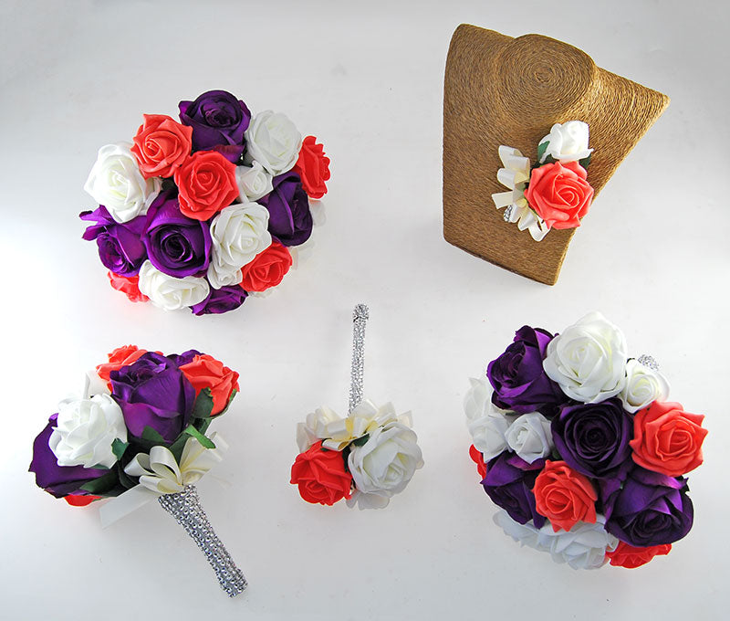 Nicole Coral, Ivory Foam & Silk Purple Rose Diamante Handle Wedding Package