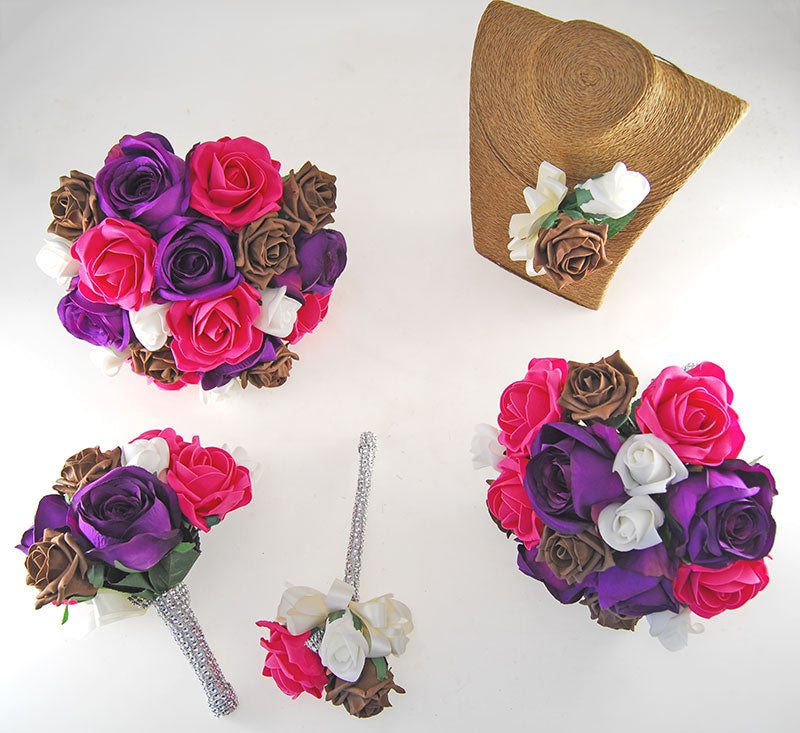 Nicole Ivory, Brown, Cerise & Purple Silk Rose Diamante Handle Wedding Package