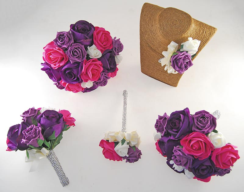 Nicole Ivory, Cerise, Purple & Plum Rose Diamante Handle Wedding Package