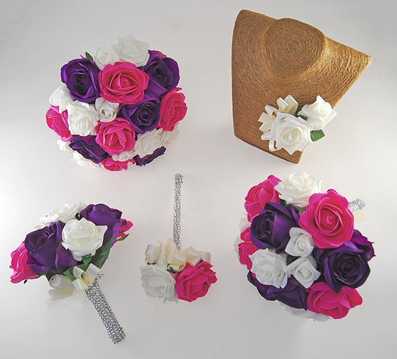 Nicole Ivory, Cerise & Purple Silk Rose Diamante Handle Wedding Package