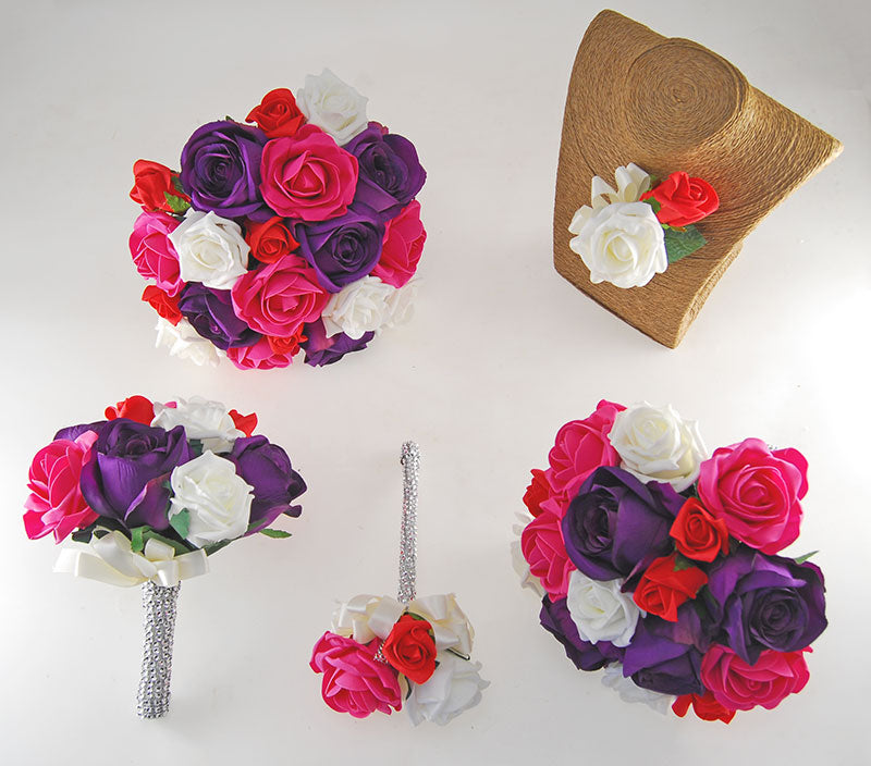 Nicole Ivory, Cerise, Red Foam & Silk Purple Rose Diamante Handle Wedding Package