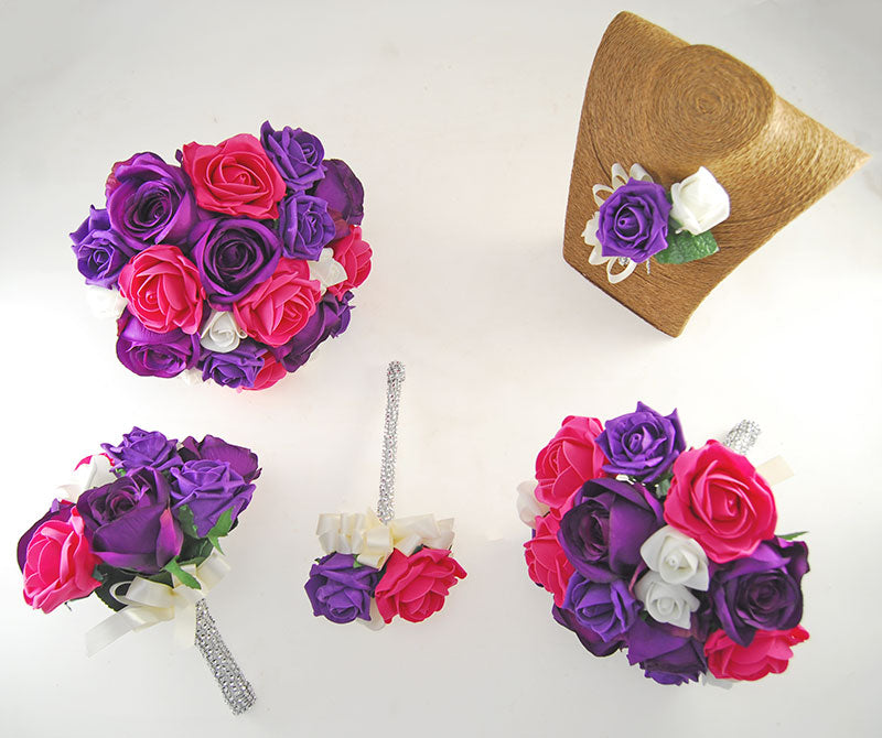 Nicole Purple Cerise Foam, Silk Purple Rose Diamante Handle Wedding Package