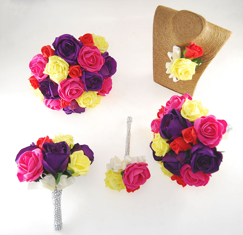 Nicole Yellow, Cerise, Red Foam & Silk Purple Rose Diamante Handle Wedding Package