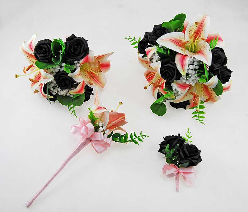 Olivia Pink Silk Lily, Ivory Gypsophila & Black Foam Rose Wedding Package