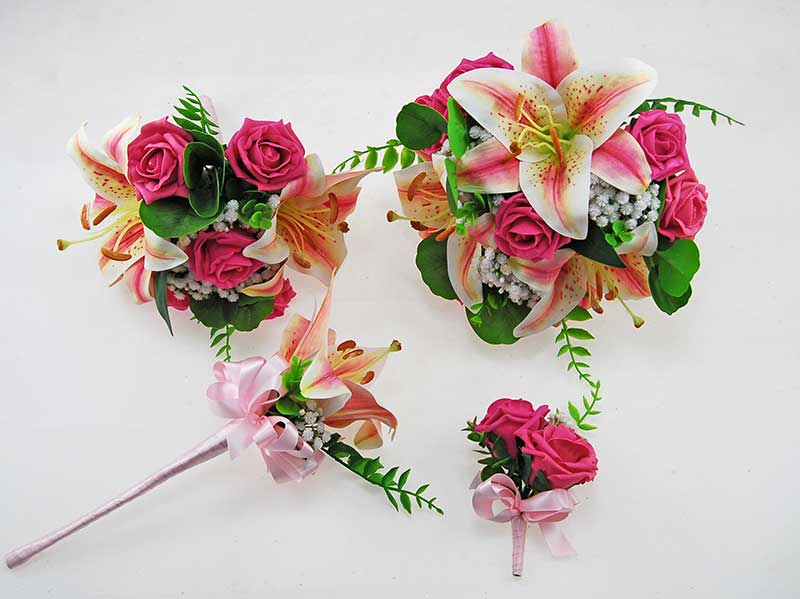 Olivia Pink Silk Lily, Ivory Gypsophila & Cerise Pink Rose Wedding Package