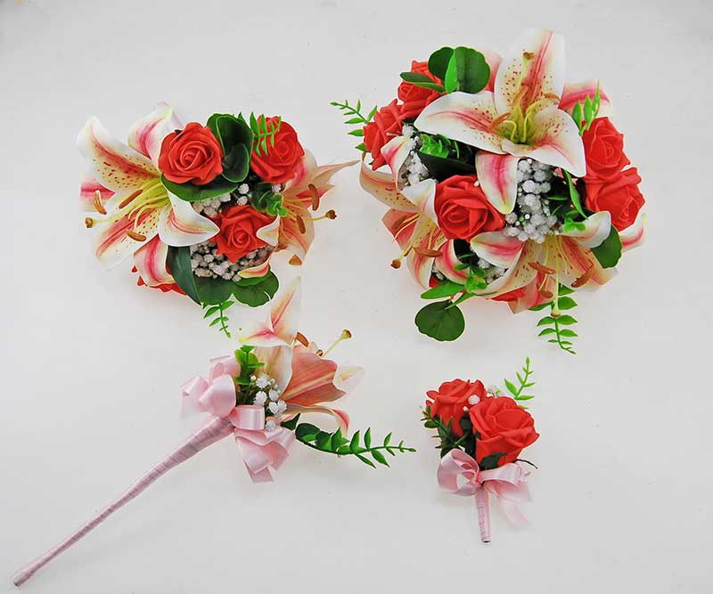 Olivia Pink Silk Lily, Ivory Gypsophila & Coral Rose Wedding Package