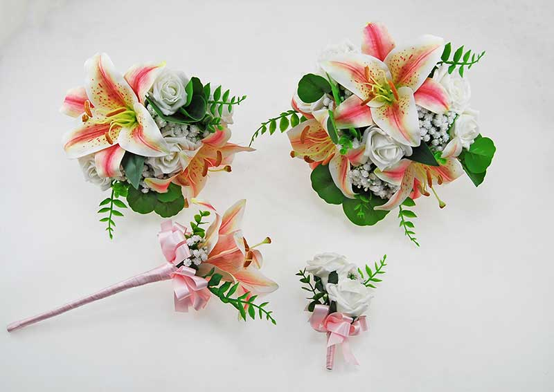 Olivia Pink Silk Lily, Ivory Gypsophila & Foam Rose Wedding Package