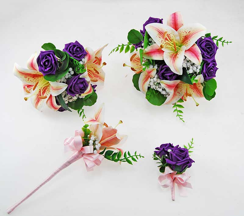 Olivia Pink Silk Lily, Ivory Gypsophila & Purple Foam Rose Wedding Package