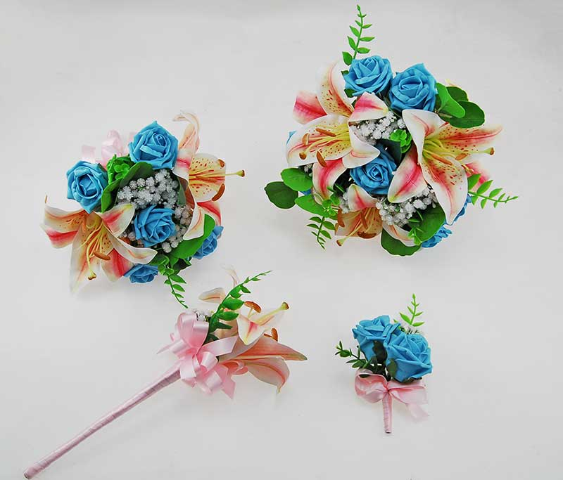 Olivia Pink Silk Lily, Ivory Gypsophila & Turquoise Foam Rose Wedding Package