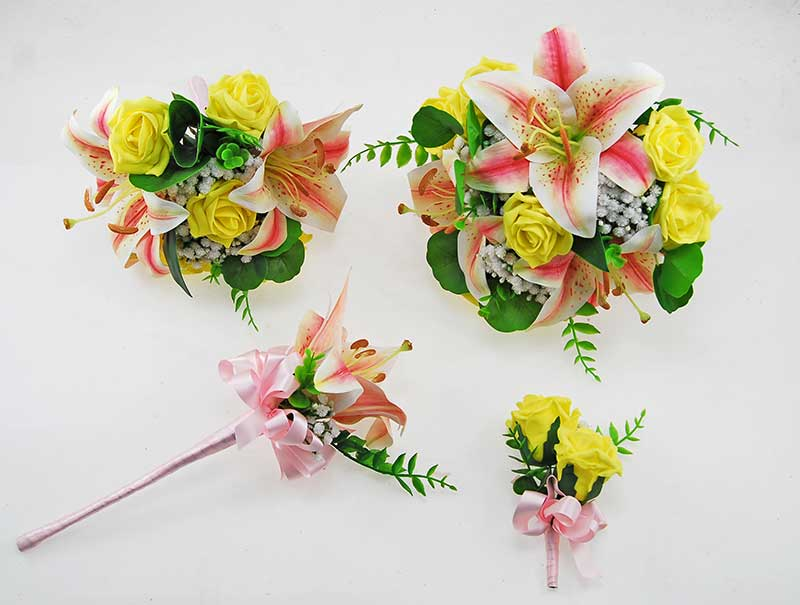 Olivia Pink Silk Lily, Ivory Gypsophila & Yellow Rose Wedding Package
