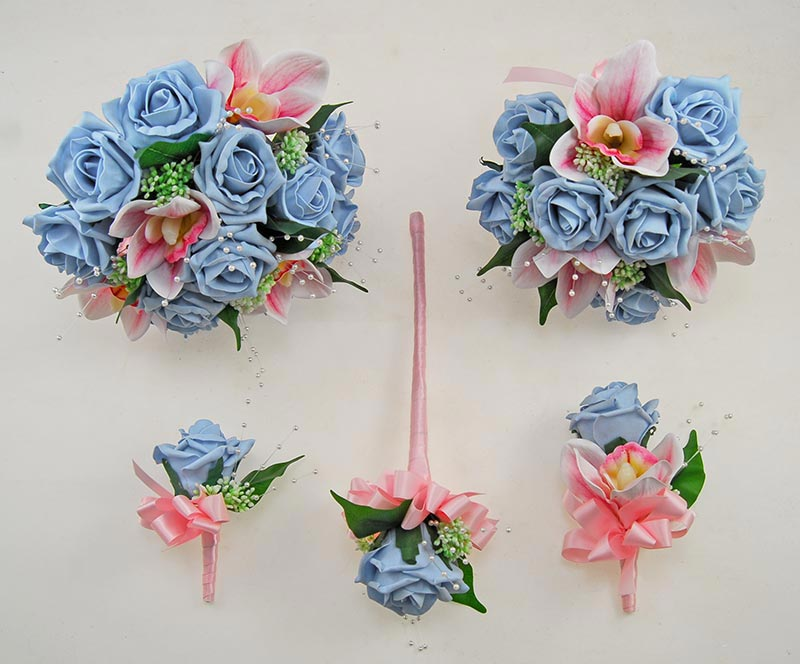 Ophilla Pink Orchid, Light Blue Foam Rose, Gypsophila & Pearl Wedding Package