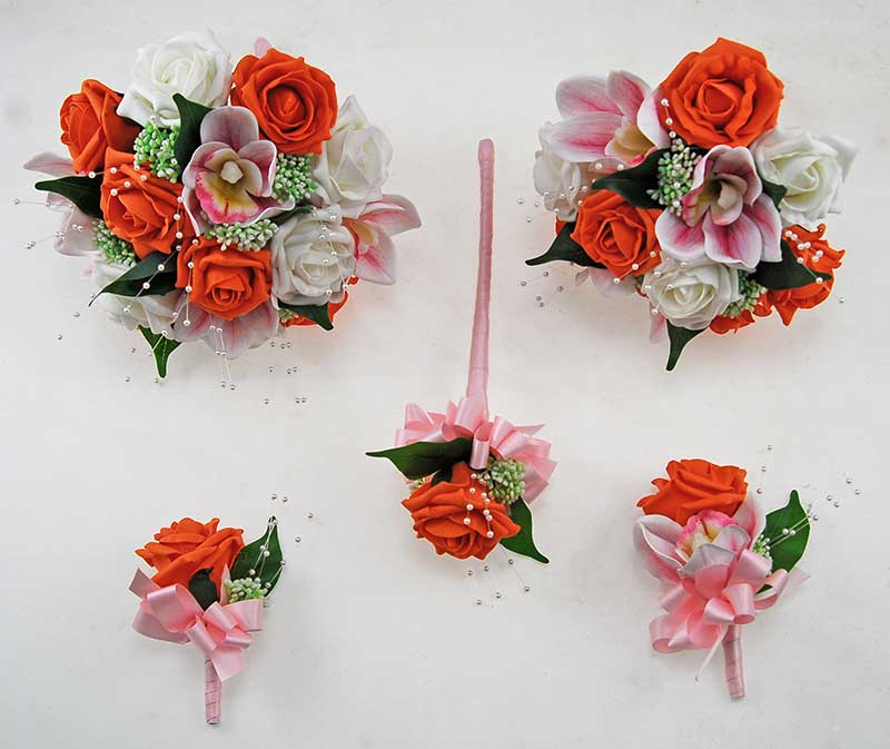 Ophilla Pink Orchid, Orange, Ivory Foam Rose, Gypsophila & Pearl Wedding Package