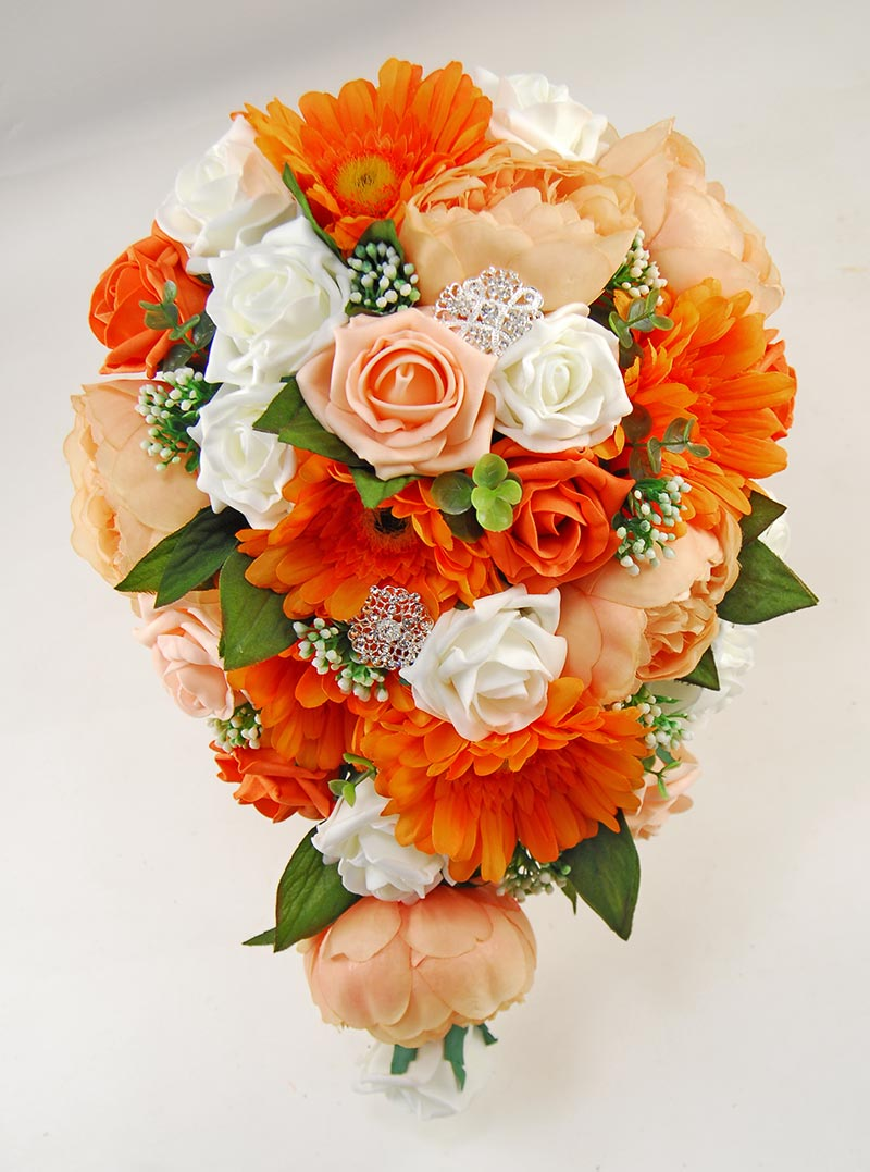 Orange Gerbera, Antique Peach Silk Peony & Rose Bridal Shower Bouquet