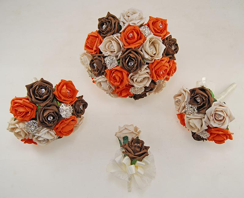 Mocha, Brown & Orange Rose Classic Diamante Brooch Wedding Flower Package