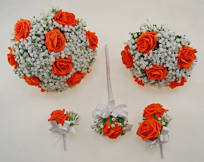 Orange Foam Rose & Ivory Gypsophila Yula Wedding Package