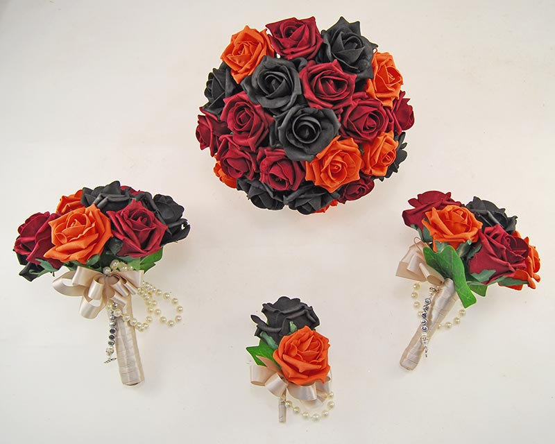 Orange, Burgundy & Black Foam Rose Handle Name Charm Vanessa Wedding Package