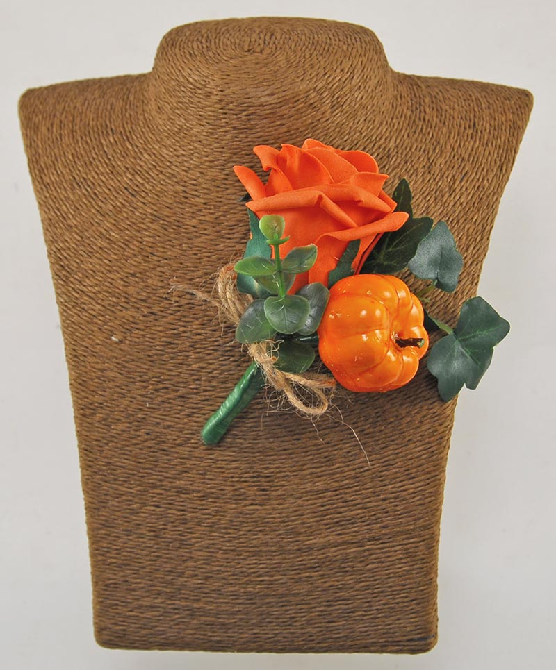 Artificial Pumpkin & Orange Foam Rose Wedding Guest Buttonhole