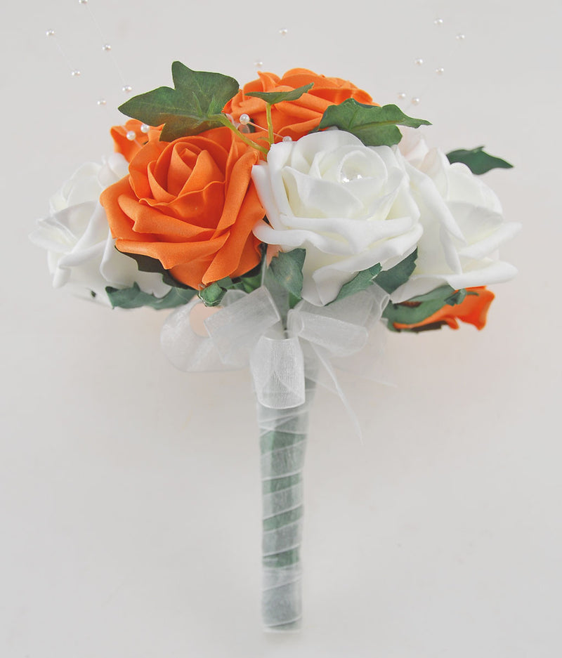 Orange & Ivory Rose Evie Wedding Shower Package, Brides Shower, Bridesmaids Bouquet, Flower Girl Posy, Wand, Grooms Buttonhole