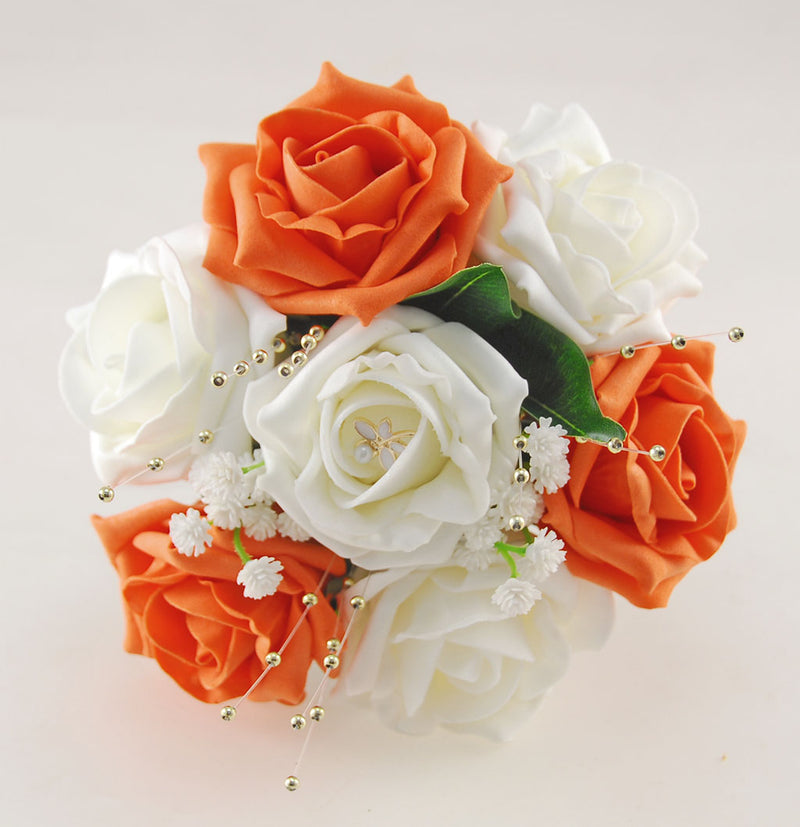 Orange & Ivory Rose Flower Girl Wedding Posy with Dragonfly Charm
