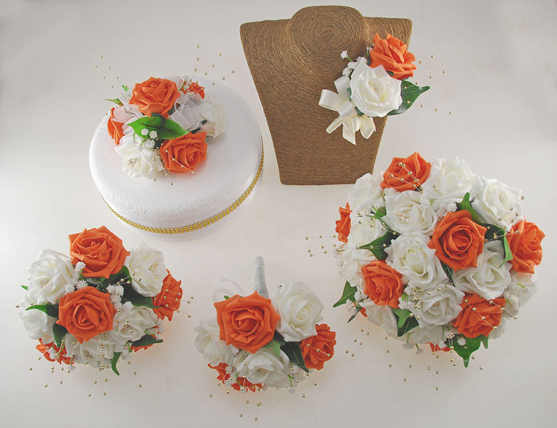 Orange & Ivory Rose Lucy Wedding Flower Package, With Gold Pearls & Dragonfly Charm